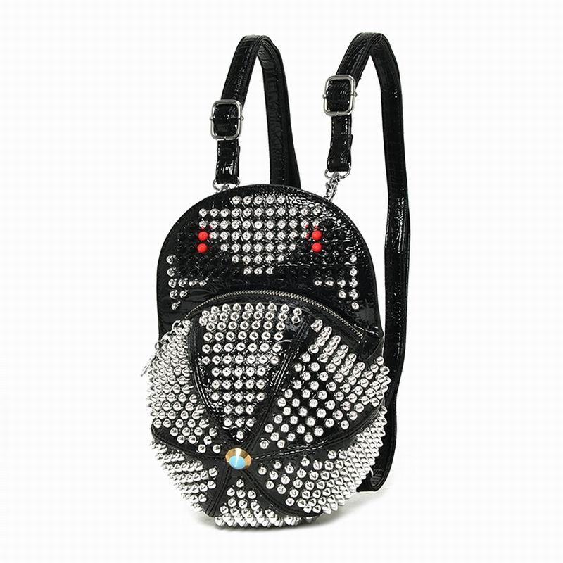 Bearberry Designer Rivet Monster Backpacks Handmade Leather Hat Shape Bagpack Punk Style Mochila Diamond Rhinestone Bags