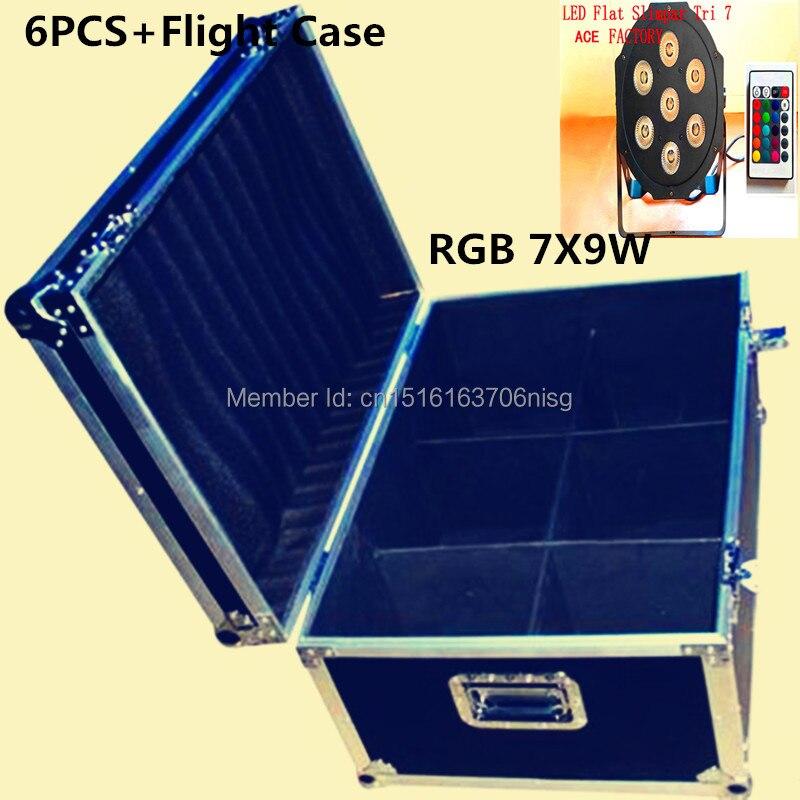 6pcs/lot Free&Fast shipping with flight case Wireless remote control 7x 9W RGB DMX Led Flat Par for Party KTV Disco DJ naza m v2 flight control