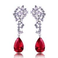 צורת דמעת HIBRIDE החדש טרנדי תכשיטי נשים עגילי תליון יהלומים מלאכותיים אדום, עיצוב קסם E-104 אירוסין עגיל