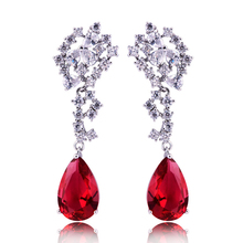 HIBRIDE Neue Trendy Reißen Form Rot Strass Anhänger Ohrringe Frauen Schmuck, Charme Design Engagement Ohrring E 104