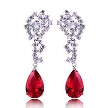 HIBRIDE nowy modny łza kształt czerwony Rhinestone wisiorek kolczyki kobiety biżuteria, urok projekt zaręczyny kolczyk E 104