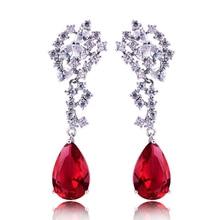 HIBRIDE nueva moda forma de lágrima pendientes de diamante de imitación rojo joyería de mujer, diseño de encanto pendiente de compromiso E 104