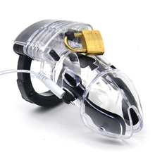 Electro Shock Sex Toys Lockdown Male Clear Electric Penis Chastity Cage Electrical Shocker Cock Cage Medical Themed Toy For Men