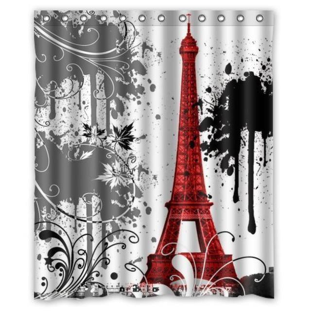 Red Eiffel Tower Splash Custom Amazing Decorate Shower Curtain Pattern Waterproof For Bathroom 6672inch