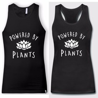 Harajuku Fashion Vegan Singlets Powered By Plants Men Women Summer Black Tank Tops Anniversary Vest Valentine