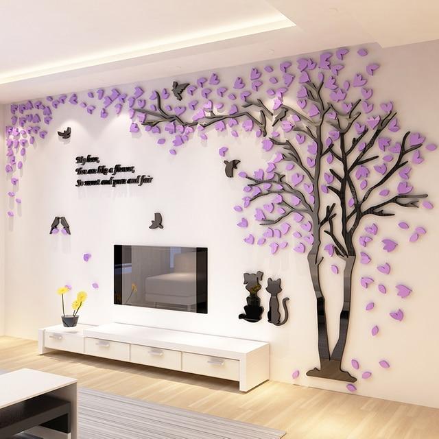 Creative Arbre Acrylique 3d Stéréo Sticker Mural Salon Canapé Tv