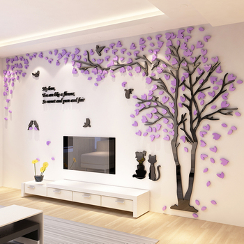 Creative Tree Acrylic 3D Stereo Wall Sticker Living Room Sofa TV Background Wall Interior Room Warm Decoration interior design