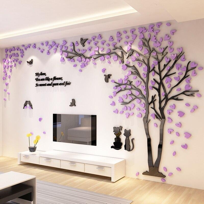 Pohon Kreatif Akrilik Stereo Stiker Dinding Ruang Tamu Sofa Televisi Latar Belakang Interior Room Dekorasi Hangat Di Wall Stickers Dari Rumah