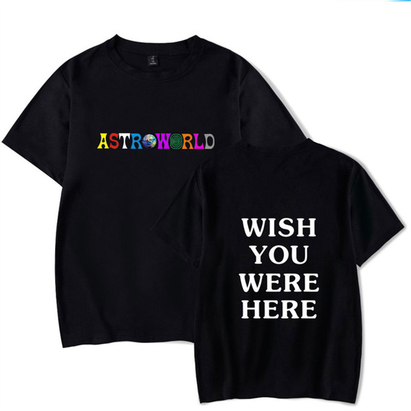 2018 New Fashion Hip Hop   T     Shirt   Men Women Travis Scotts ASTROWORLD Harajuku   T  -  Shirts   WISH YOU WERE HERE Letter Print Tees Tops