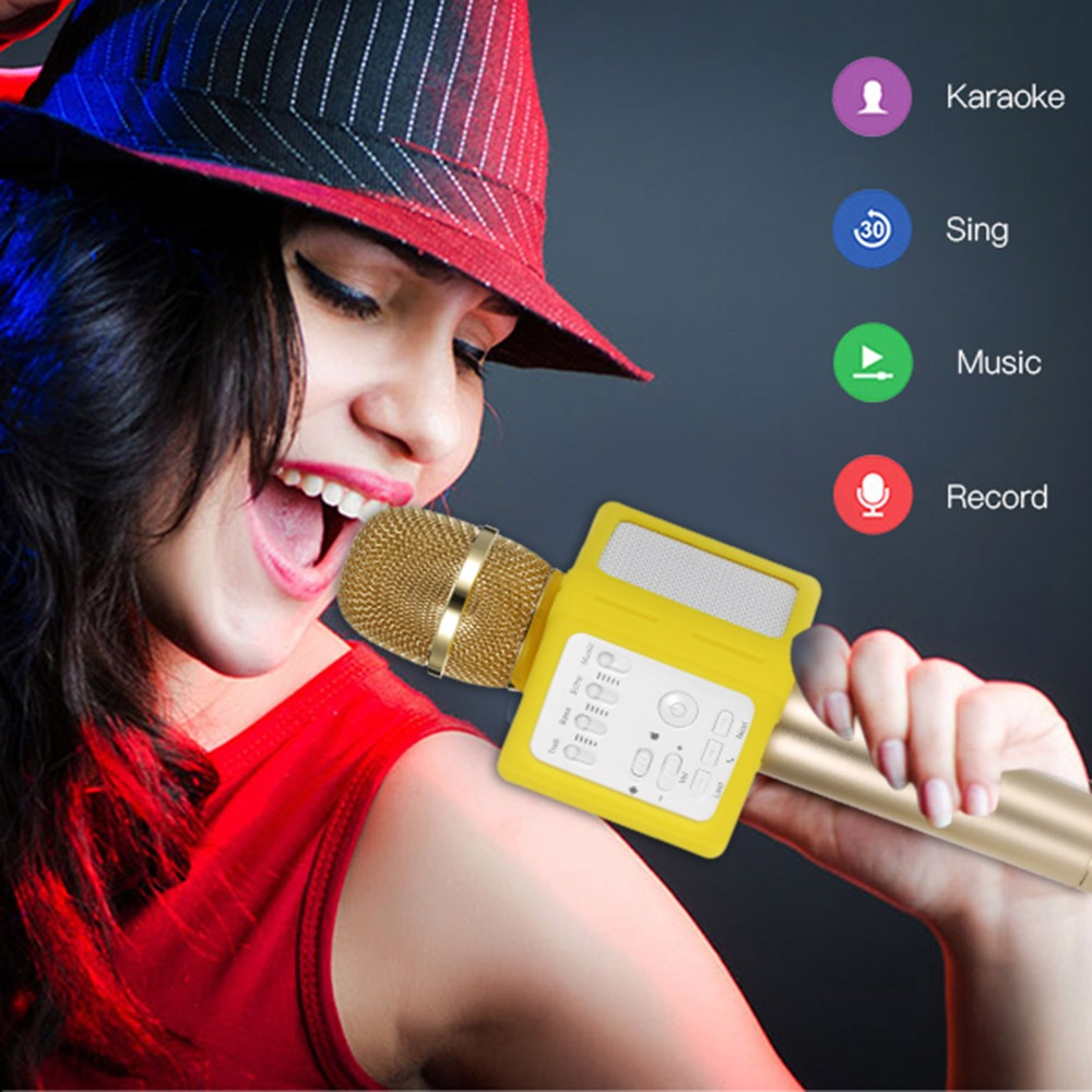 Upgraded Q9S Wireless Microphone KTV Karaoke Bluetooth Condenser Mic Recording Echo function Speakers For IOS font