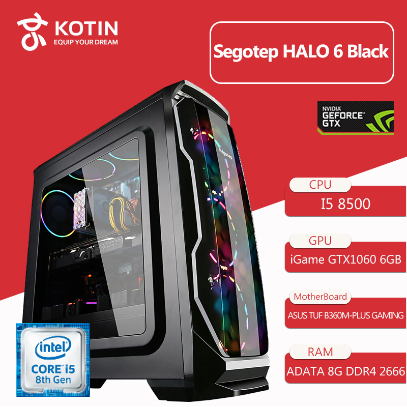 Kotin B2 Intel I5 8500 2.8GHz Gaming Desktop PC 120mm RGB Water Cooling GTX 1060 240GB SSD 16GB RAM (2*8GB) Computer RGB Fans image
