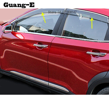 Para Hyundai Kona Encino Kauai 2017 2018 2019 2020 Ventana de coche Visor de viento lluvia protector de sol para ventilación Word embellecedor de Marco Lamp 4 Uds