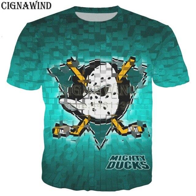 c9b700b4e Novo dos desenhos animados engraçado t camisa Dos Homens Mulheres Anaheim  Ducks 3D Impresso T