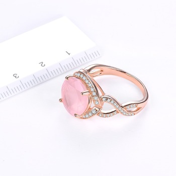 Rose Quartz Engagement Silver Gold Plated Ring 4