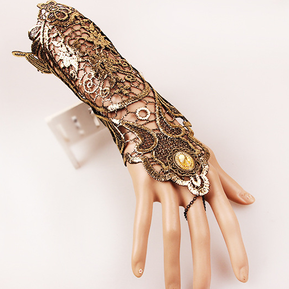 Top Sell 1 Pc Women Ladies Steampunk Style Lace Fingerless Long Gloves Lace Hollow-Out Chain Bracelet Gloves Party Costume