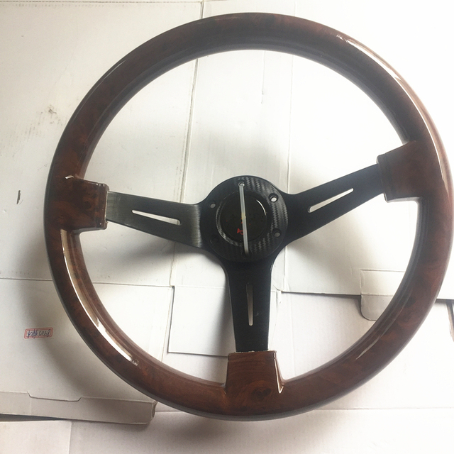 car styling steering wheel / concave peach wood mahogany competitive racing retro ABS / Universal steering wheel