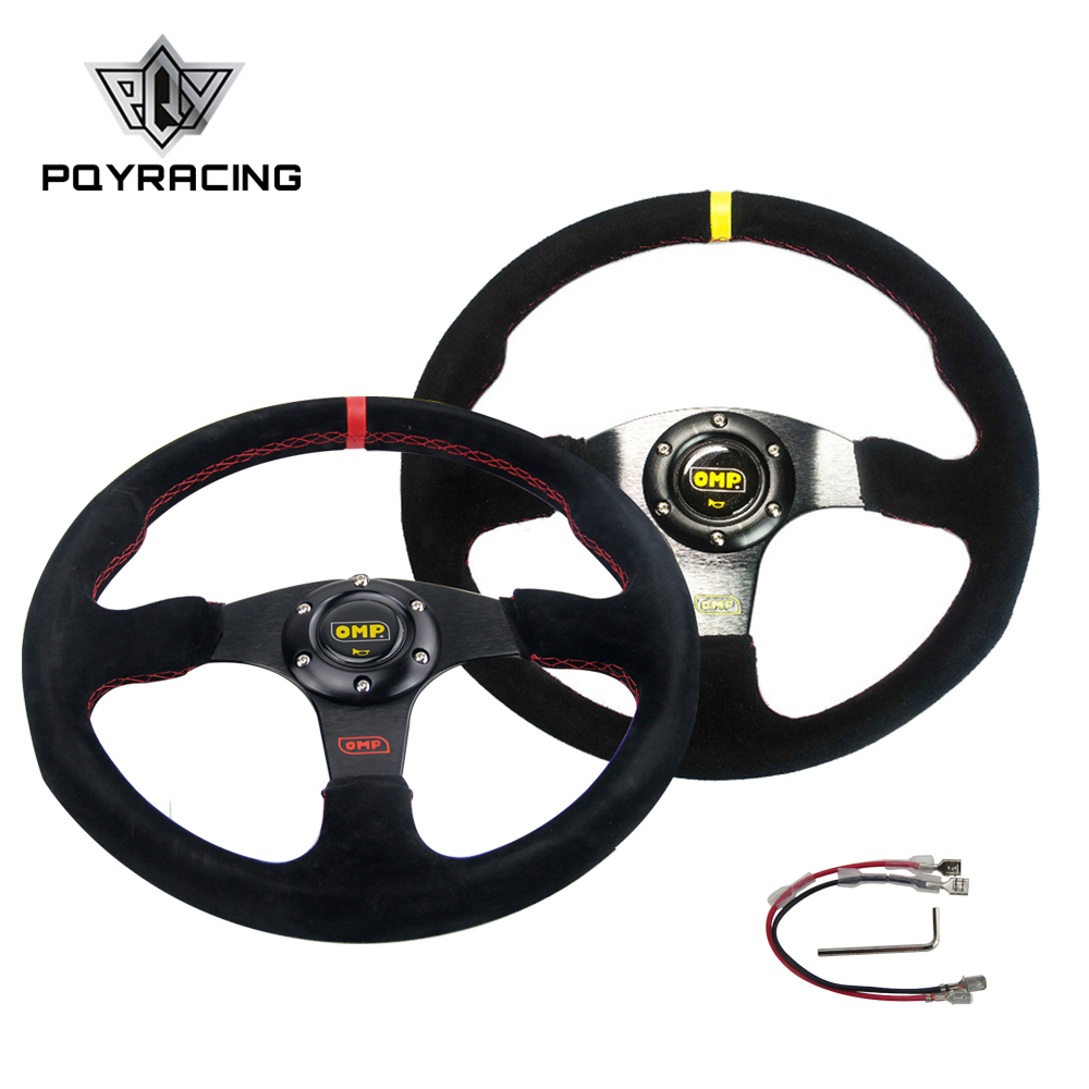NEW 14inch 350mm Suede Leather Flat Rack Corn Drifting Steering Wheel with black font b box
