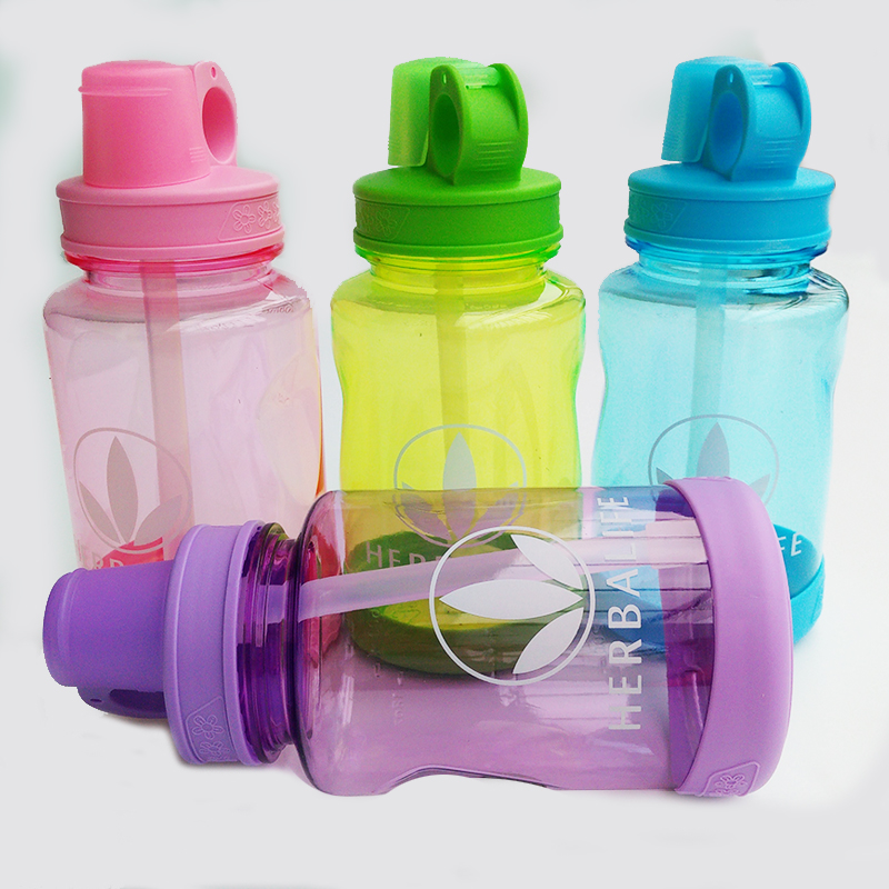 6PCS Multicolor 600ml Herbalife Nutrition Drinkware Protein Shake Bottle Camping Hiking Portable Straw Water Bottle