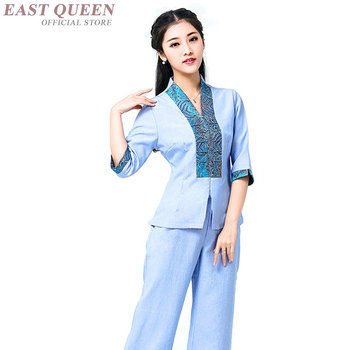 Massage uniform myanmar asia thai massage clothing women new design thai massage uniforms receptionist uniforms DD1122