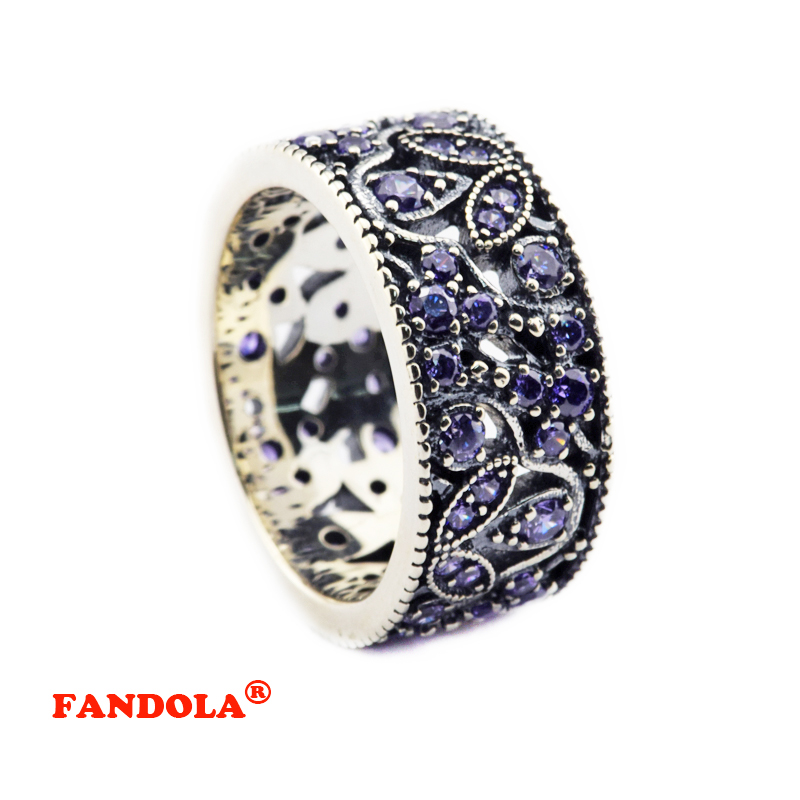 25a171a87 Authentic 925 Sterling Silver Jewelry Shimmering Leaves Ring with Purple  Cubic Zirconia Stone Wedding Ring for Women CKR062-in Rings from Jewelry ...