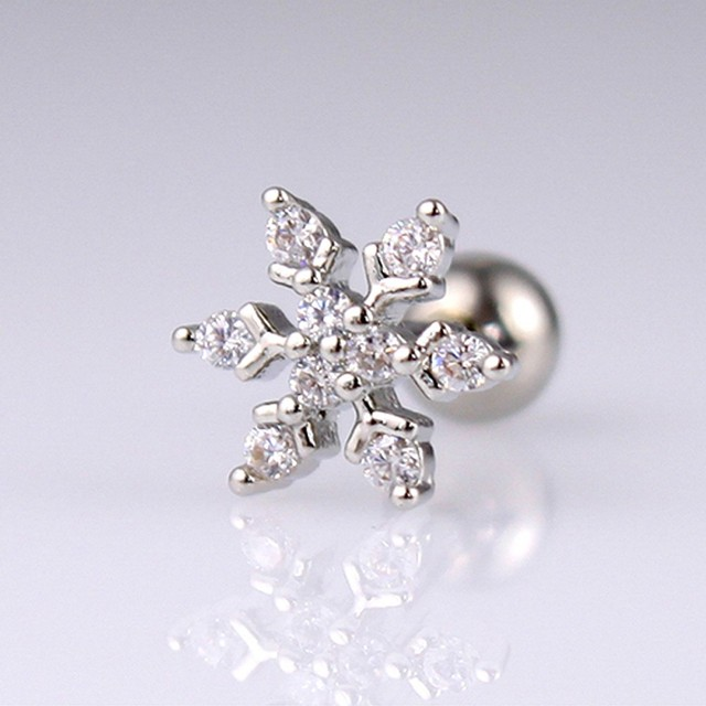 1pcs Shining Crystal Snowflake Charm Cute Studs Earring Cartilage Stud Tragus Helix Piercing Jewelry For