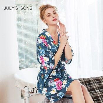 8547c4513 JULY S canción Impresión de satén boda novia dama de honor manto Floral Albornoz  ropa de dormir traje de seda camisón de encaje Sexy camisón