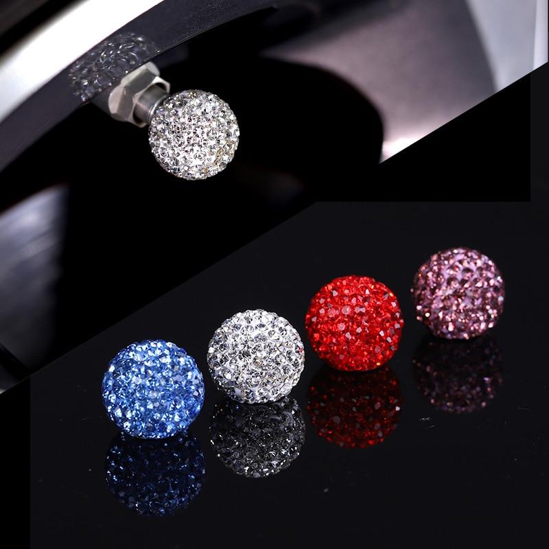 4Pcs/Lot Bling Rhinestone Universal Car Tire Valve Caps Crystal Diamond Shining Dustproof Valve Stem Caps Car Accessories