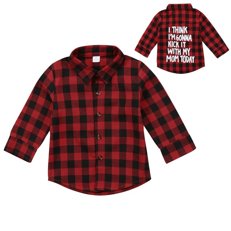 Red Plaid Mode Kleinkind, Kinder, Junge Mädchen Langarm Zurück Brief Drucken Überprüfen Blusa T-shirt T Tops Kleidung 2-7Y