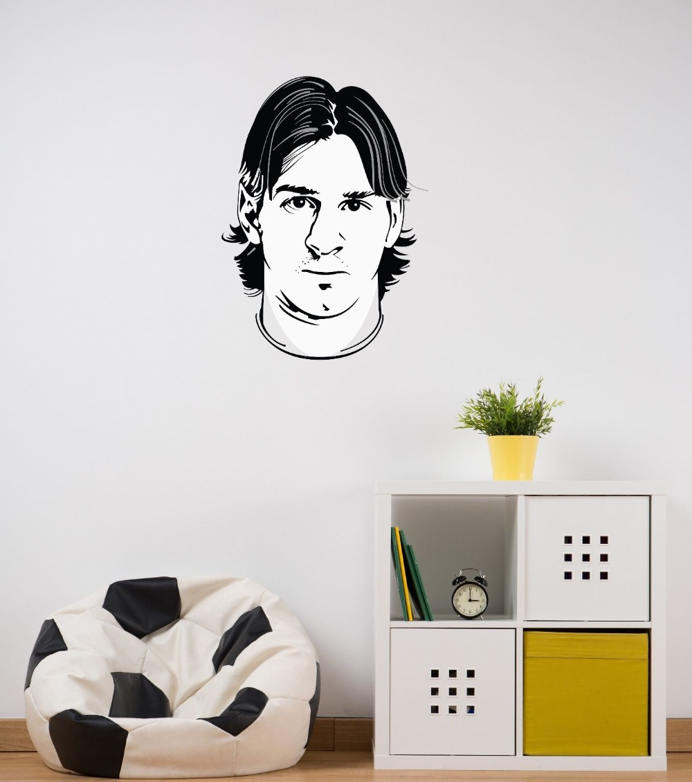 Lionel Messi Head Wall Stickers Drop Shipping Barcelona Football Super Player Wall Decals Art Mural Boys Bedroom Vinyl SYY415