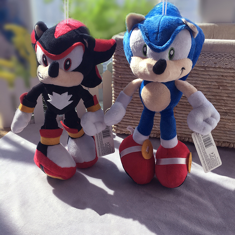 2Pcs/Lot 28cm Sonic Plush Toys Doll Black Blue Shadow Sonic Soft Peluche Toy Children Christmas Gifts Free Shipping