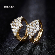 XIAGAO Full CZ Style Baby Kids Jewelry Yellow Gold-COLOR CZ Small Hoop Earrings For Girls Child Anti-Allergic Jewelry
