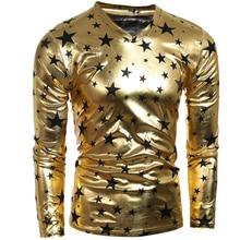 Tshirt Homme 2016 Long Sleeve T Shirt V-Neck Men T-Shirt Camisetas Pentagram Bronzing Hombre Tee Shirt Funny T Shirts XXL ALV063