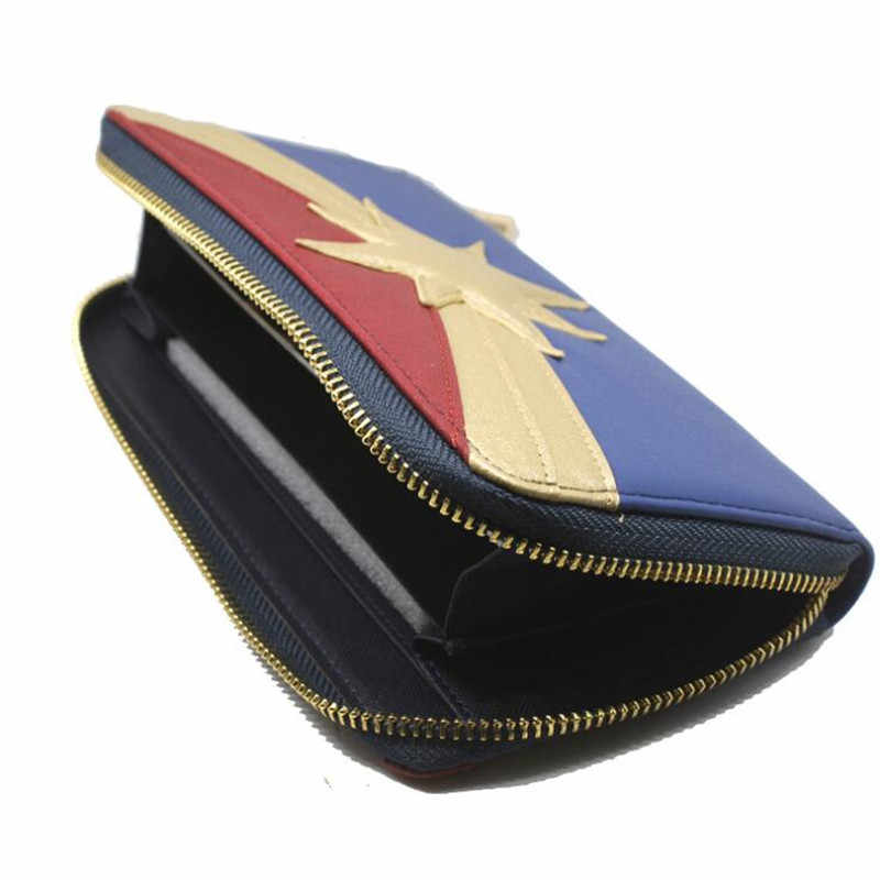 Superhero Movie The Avengers Captain Marvel Wallet Cosplay Girl Ladies Straight Zipper Multi-slot Wallet Red Golden Fashion Gift