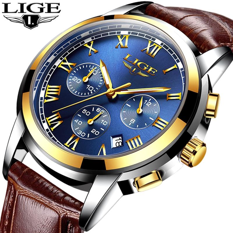 LIGE mens watches top brand luxury Men s Sports Simulation Quartz Watch Waterproof Golden Watch Military
