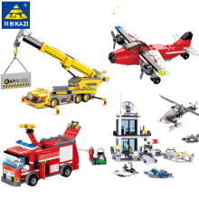City Fire Truck Crane Airplane Police Station Building Blocks Sets LegoINGLs Playmobil Bricks Toys for Children Christmas Gifts