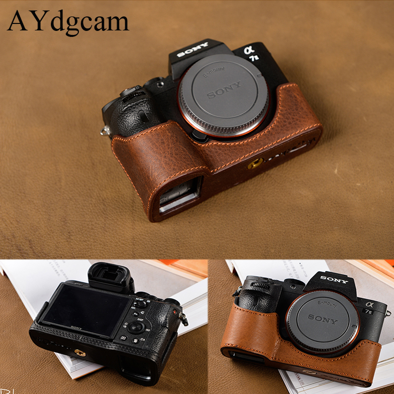 [VR] Brand Handmade Genuine Leather Camera case For Sony A7II A7 Mark 2 A7R2 A7R II Camera Bag Half Cover Handle Vintage Case [vr] brand handmade genuine leather camera case for sony a7ii a7 mark 2 a7r2 a7r ii camera bag half cover handle vintage case