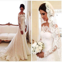 Cheap Vestido De Noiva Sexy Long Sleeves Lace Wedding Dress 2018 Bridal Marriage Dress Vestido De Casamento Robe De Mariage ZJ3