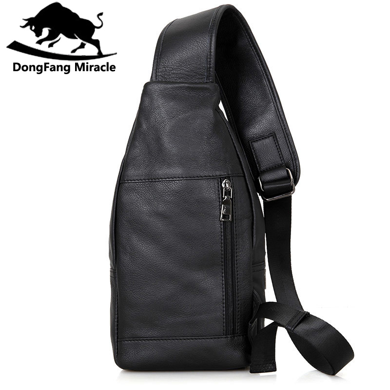 DongFang Miracle 100% Real Cow Leather Chest Bags For Mens Crossbody Sling Bag Boy's Shoulder Bag Popular Satchels-in Waist Packs from Luggage & Bags    3