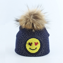 Kid Girl Boy Winter Knit Hat Autumn Beanie Real Raccoon Fur Pom Warm Cotton Brim Casual Smile Bling Outdoor Skiing Accessory