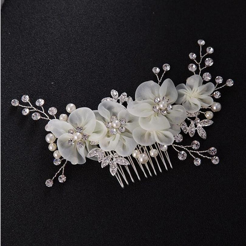 Romantic White Lace Floral Hairwear Wedding Bride Hair Ornaments Pearl Headdress