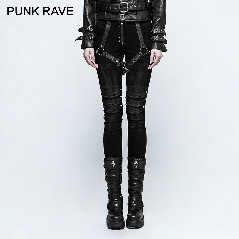 PUNK RAVE Daft Punk Rock Armor Jeans Black Rivet Belt Pattern Pleated High Waist Trousers Gothic Disc Flowers Buttons Pants punk rave new products elastic coarse slanting stripe punk male trousers slim fit jeans