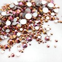 Mixed Size SS3 SS30 Gold Rose 1000pcs Nail Rhinestones Flat Back Non Hotfix Glitter Nail Stones