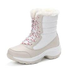 2017 frauen schnee stiefel winter warme stiefel dicken boden plattform wasserdicht stiefeletten für frauen dicke baumwolle schuhe größe 35-41