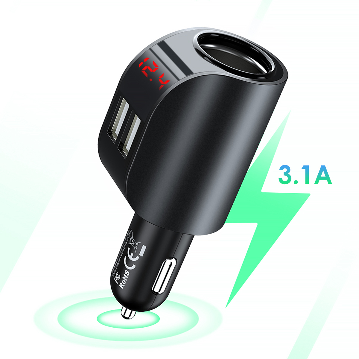 3.1A Dual USB Car Charger Mobile Phone Charger 12-24V Car Cigarette Lighter Fast Charging Adapter With Digital Display