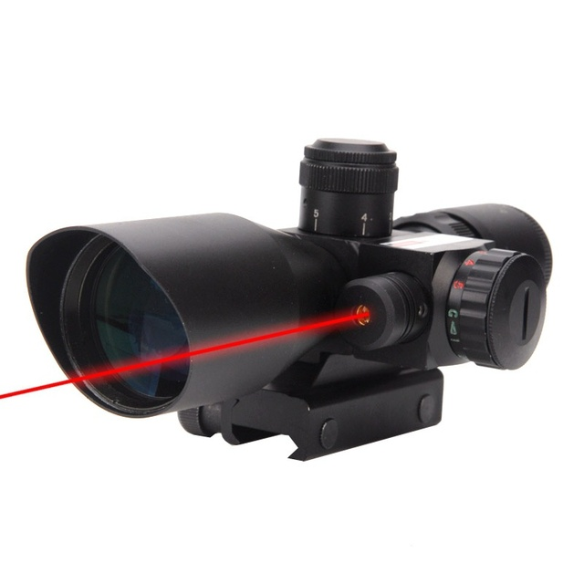 Hunting tactical powerful 2.5-10X40 Riflescope Illuminated Tactical Riflescope with compact Red Laser Scope Hunting Scope 20mm