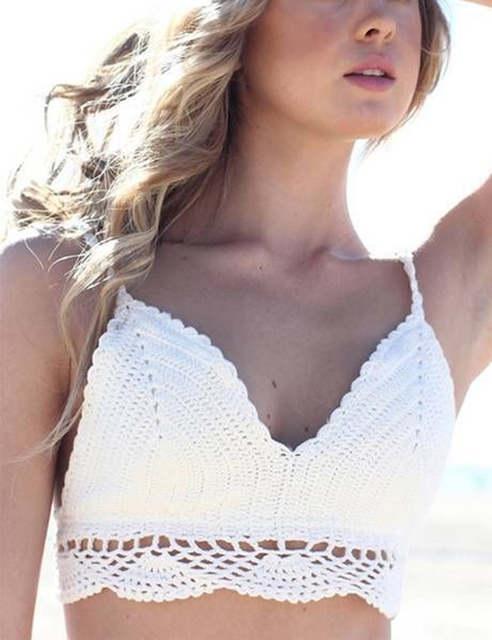 500787aed6408 Online Shop Boho Halter Top Festival Crochet Hippie Crop Tops Handmade  Bikini White Beachwear Padded Bralette Lace Trim Tan Top Camis T5