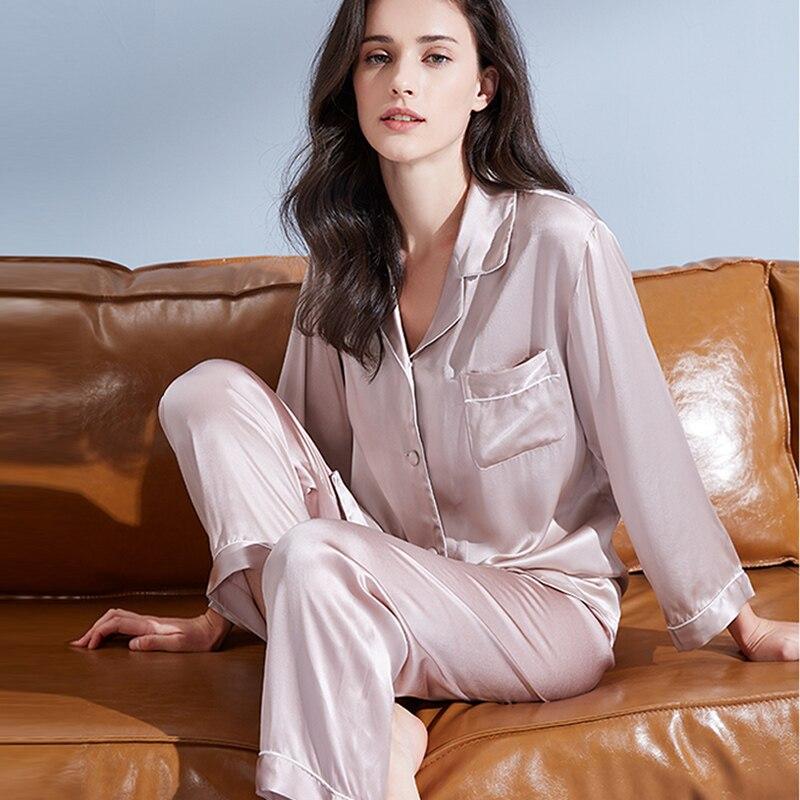 Женский пижамный комплект из 100% натурального шелка, однотонная шелковая ночная рубашка на момме, 2020