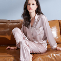 Women 100% Real Silk Pajamas Set 2019 Solid 19 m/m Silk Nightgown Pyjama Femme Sleep Lounge Bedgown Pure Silk Sleepwear Suits