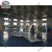 Custom design outdoor transparent inflatable camping bubble tent with colorful strips N single tunnel