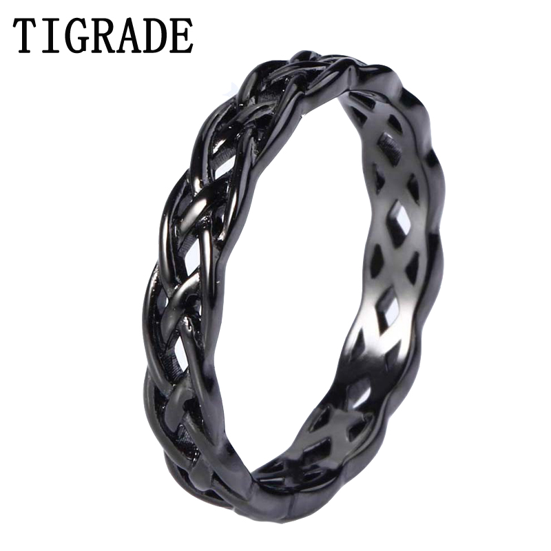TIGRADE 4mm Black 925 Sterling Silver Jewelry Celtic Knot Ring Women Eternity Wedding Engagement Band Fashion Anel  Rings Collar